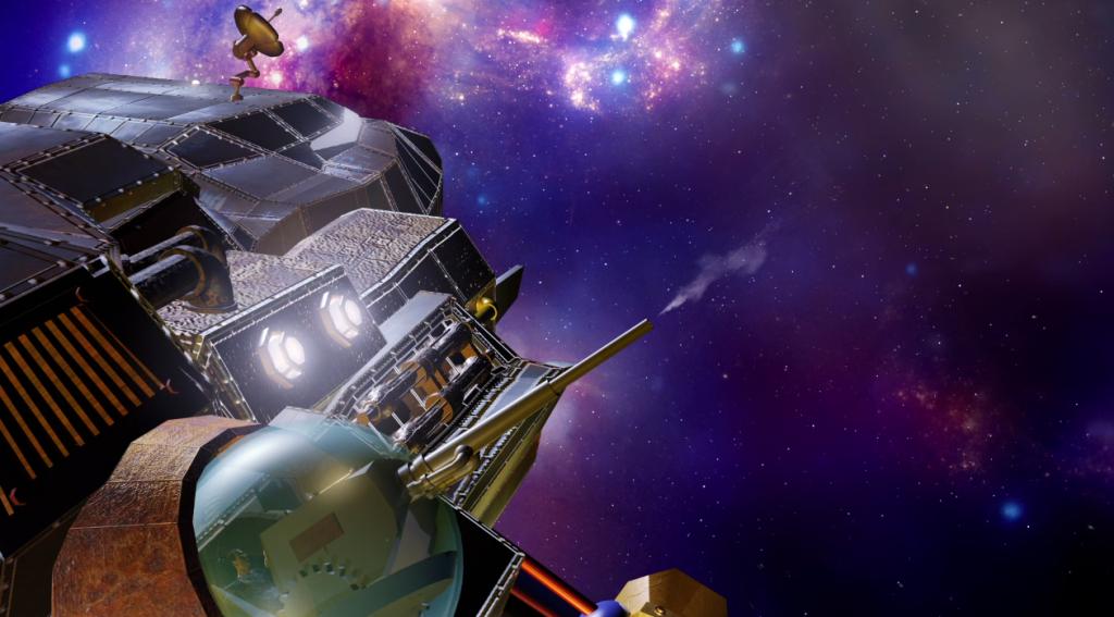 3D art spaceship space art freighter Planet15